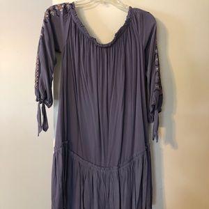 Purple, floral off shoulder dress
